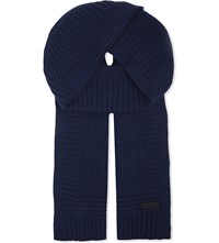 Belstaff Knitted Wool And Cashmere Scarf Navy