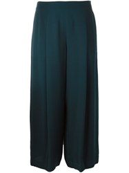 Theory Wide Leg Cropped Trousers Blue
