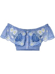 Alice Mccall Honeycomb Daisy Crop Top Blue