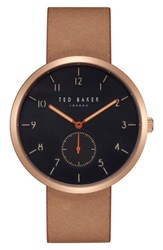 Ted Baker London Josh Leather Strap Watch 42Mm Black Brown