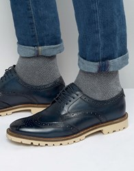 Base London Raid Derby Brogue Shoes Navy