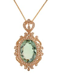 Effy Green Amethyst Diamond And 14K Rose Gold Pendant Necklace