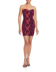 Guess Floral Embroidered Strapless Dress Multi
