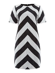 Pied A Terre Chevron Shift Dress Black White