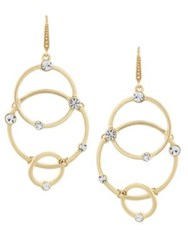 Laundry By Shelli Segal Crystal Circle Link Drop Earrings Gold