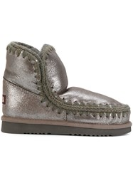 Mou Eskimo Boots Women Cotton Sheep Skin Shearling Rubber 40 Grey