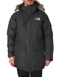 The North Face Grey Flannel 550 Down Mc Murdo Parka With Hood And Removable Fur Edging