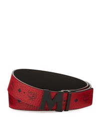 Mcm Visetos Reversible Matte Buckle Belt Ruby Red