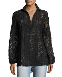 Alice Olivia Jill Embroidered Lace Peasant Top Black
