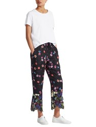 French Connection Botero Lace Tie Waisted Trousers Biker Berry