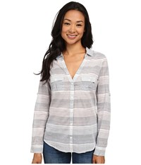 Columbia Sun Drifter L S Shirt Collegiate Navy Stripe 2 Women's Long Sleeve Button Up Multi