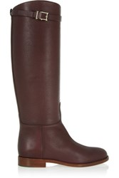 Valentino Textured Leather Knee Boots Chocolate