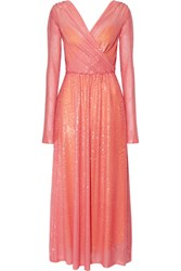 Emilio Pucci Sequined Stretch Tulle Gown Baby Pink