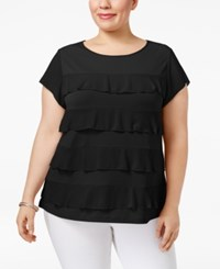 Charter Club Plus Size Tiered Ruffled Top Only At Macy's Deep Black