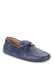 Tod's Leather Tie Moccasins Light Blue