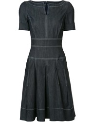 Carolina Herrera Denim Short Sleeve Dress Blue