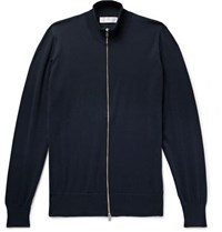 Brunello Cucinelli Slim Fit Contrast Tipped Cotton Zip Up Cardigan Navy
