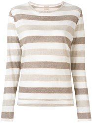 Massimo Alba Striped T Shirt Nude And Neutrals