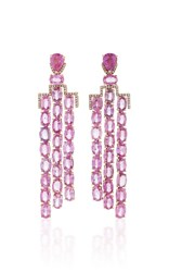 Nina Runsdorf M'o Exclusive One Of A Kind Pink Sapphire Art Deco Style Earrings