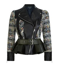 Alexander Mcqueen Tweed And Leather Biker Jacket Female Multi