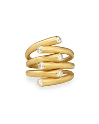 Carelle 18K Multi Row Ring With Diamonds