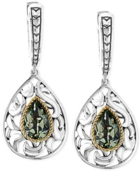 Effy Collection Balissima By Effy Green Amethyst Pear Drop Earrings In Sterling Silver And 18K Gold 2 1 3 Ct. T.W.