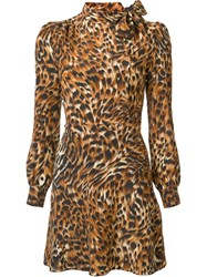 Saint Laurent Leopard Print Mini Dress Brown