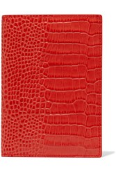 Smythson Mara Croc Effect Leather Passport Cover Coral