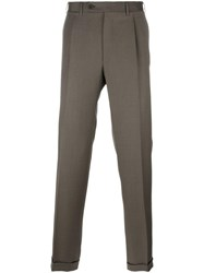 Canali Straight Leg Trousers Brown
