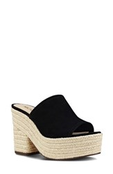 Nine West Women's Skyrocket Platform Slide Sandal Black Fabric