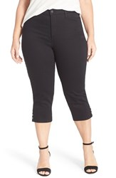 Plus Size Women's Nydj 'Ariel' Embellished Cuff Stretch Crop Jeans Black