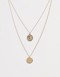 Johnny Loves Rosie Duo Layered Circle Pendant Necklace Gold