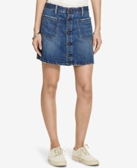 Denim And Supply Ralph Lauren Tilden Button Front Skirt Navy
