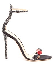 Gianvito Rossi Cherry Crystal Embellished Satin Sandals Black