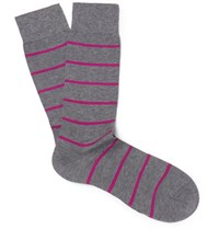 Pantherella Blavet Striped Egyptian Cotton Blend Socks Gray