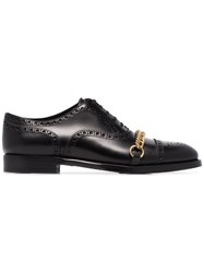 Burberry Black Lewis Lace Up Chain Detail Leather Brogues