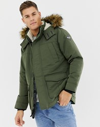 Hollister All Weather Faux Fur Trim And Lining Hooded Parka In Green Olive Brown