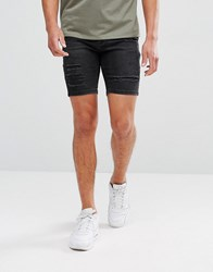 11 Degrees Super Skinny Denim Shorts In Black