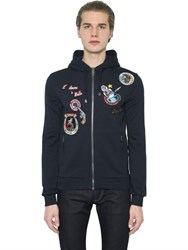 Dolce And Gabbana Patches Hooded Zip Up Cotton Sweatshirt