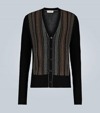 Wales Bonner Embroidered Rib Knit Cardigan Brown