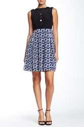 Orla Kiely Silk Sleeveless Pleated Dress Blue