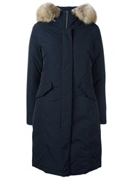 Woolrich Long Arctic Parka Coat Blue