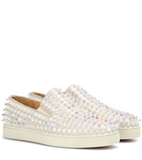 Christian Louboutin Roller Boat Embellished Slip On Sneakers Neutrals
