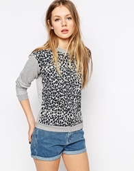 A Question Of Leopard Print Sweatshirt With Contrast Sleeves Lightgreymelange