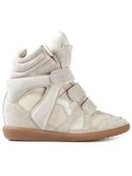 Isabel Marant Concealed Wedge Hi Top Sneakers Nude Neutrals