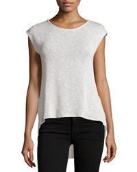 Casual Couture Chiffon Back High Low Tee Light Gray