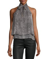 Bishop Young Snake Print Tie Neck Halter Top Multi