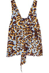 Msgm Leopard Print Silk Twill Top Orange