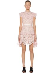 Self Portrait Abstract Triangle Lace Mini Dress Pink