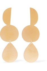 Annie Costello Brown Thea Gold Tone Earrings One Size